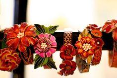 Leather flower cuffs
