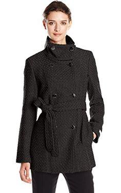 Calvin Klein Women's Double Breasted Wool Coat with Belt, Black, XX-Large ❤ Calvin Klein Women's Outerwear