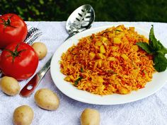 Turmeric & Saffron: Estamboli Polow - Persian Tomato Rice with Potatoes
