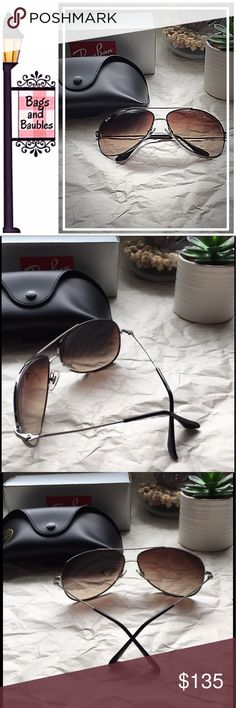 RAY-BAN Silver Bubble Wrap Aviators | NWT New in Box: RAY-BAN Bubble Sunglasses    Pristine! A fresh take on the classic aviator-style sunglasses with 100% UV Protection; rounded eye shape and wrapped fit; unisex, thin profile; silver-tone metal frames with gradient brown lenses; Ray-Ban logo on lens. Style # RB 3293 004/13 63◽️13 3N  Includes original box, case, booklet and dust/cleaning cloth.     Always Authentic | No Trades or Offline Sales | Reasonable Offers Welcome Ray-Ban Accessories…