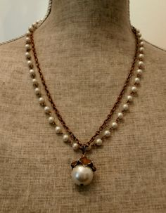 Vintage link chain and pearls two strand by GreenVintageHeart, $10.00