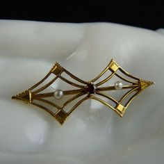 Art Deco 10K Gold Pin with Garnet and Seed Pearls @josephine vogel