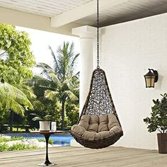 Modway Abate Outdoor Patio Swing Chair Without Stand, Black Mocha - Works as designed and well built.This Modway that is ranked 23999 in the list of the top-sel Hanging Swing Chair, Hammock Chair, Hammock Stand, Swinging Chair, Swing Chairs, Bag Chairs, Chair Cushions, Room Chairs, Egg Swing Chair