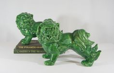 FOO DOGS, Emerald Green/LARGER Scale/Vintage Set Chinese Guard Lions/Pair Matching Fu Lions, Larger Scale Chinoiseire Chic Home decor. by RetroStampedRare on Etsy The Han Dynasty, Foo Dog, Emerald Green, Larger, Vintage Outfits, Scale, Chinese, Horse Art, Chinoiserie
