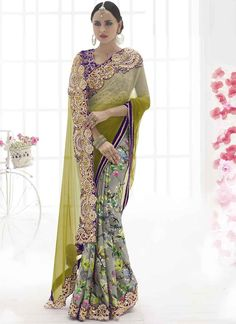 Mehandi and Grey Embroidery stone work wedding saree