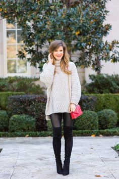 chunky sweater and OTK boots Outfit