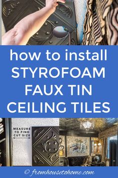 Learn how to install styrofoam faux tin ceiling tiles which add interest to your ceiling and can be used to cover imperfections (or popcorn ceilings). A great way to upgrade your room decor on a budget. Styrofoam Ceiling Tiles, Faux Tin Ceiling Tiles, Tin Tiles, Tin Ceiling Kitchen, Kitchen Backsplash, Kitchen Cabinets, Ceiling Decor, Ceiling Design, Ceiling Ideas