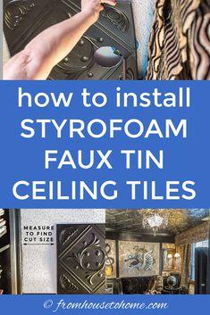 how to install styrofoam faux tin ceiling tiles Styrofoam Ceiling Tiles, Faux Tin Ceiling Tiles, Tin Tiles, Tin Ceiling Kitchen, Kitchen Backsplash, Kitchen Cabinets, Ceiling Decor, Ceiling Design, Ceiling Ideas