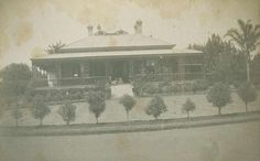 Sitting on the front steps at Ascot homestead, Toowoomba, 1900