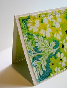 sewing fabric on paper for cards. What a great a simple way to use up scraps and have cards ready for any occasion.