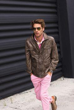 Jon Kortajarena in Leather and Pink