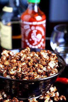 Whisky-Sriracha Caramel Corn