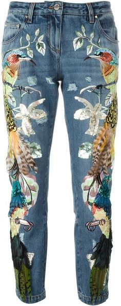 Roberto Cavalli embroidered birds feathers jeans