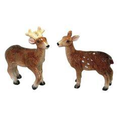 """Buck and Doe Deer Salt & Pepper Shakers Set S/P by Sadek. $13.88. Each shaker measures approx 3.25"""" x 1"""" x 3.5"""". Ceramic. Buck and Doe Deer Salt & Pepper Shakers Set S/P"""