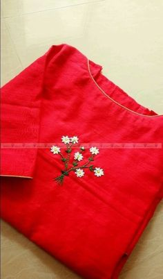 Embroidery Suits Punjabi, Embroidery On Kurtis, Kurti Embroidery Design, Hand Embroidery Dress, Embroidery Neck Designs, Embroidery On Clothes, Simple Embroidery, Hand Embroidery Patterns, Beaded Embroidery