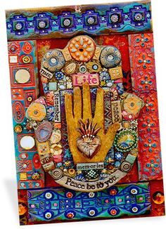 Laurie Mika embeds whatever she likes into her lusciously colored polymer mosaics. If you look closely your eyes will dance over bits of glass, jewelry, beads and ephemera that come together to tell her story. Of course many of the tiles are stamped, textured and painted polymer as well. This