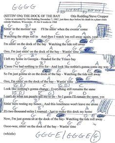 Sitting On the Dock of the Bay (Otis Redding) Guitar Chord Chart