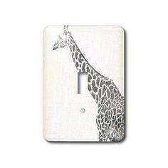 Black and White Giraffe Sketch- Animals- Art - Light Switch Covers - single toggle switch