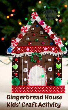 Storybook Gingerbread House for a New Holiday Tradition Kids' gingerbread house craft made with popsicle sticks and non-food items from the craft box. This is a big kid activity that will hold their attention! Includes a story to accompany the craft. Preschool Christmas, Noel Christmas, Christmas Crafts For Kids, Christmas Projects, Simple Christmas, Holiday Crafts, Christmas Decorations, Christmas Ornaments, Holiday Decor