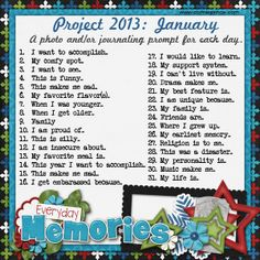 Connie Prince Digital Scrapbooking News: Project 2013 Photo / Journal Prompt A Day Challenge!