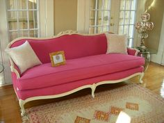 French Sofa Makeover...Pretty in Pink!
