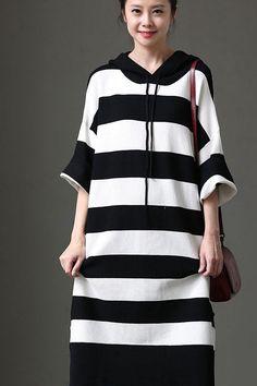 702e98c7c37 Korean Style Black White Striped Fleece Dress Bat Sleeve Casual Women  Clothes Q1039 Black White Stripes