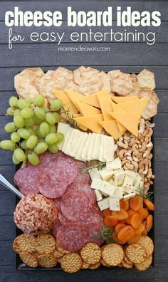 Delicious Cheese Board Ideas, perfect for easy entertaining! AD Cheese Snacks, Cheese Trays, Cheese Recipes, Snack Recipes, Cheese Dips, Yummy Recipes, Wine Appetizers, Finger Food Appetizers, Appetizers For Party