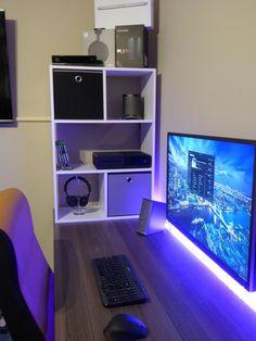 Video game room ideas for game lovers, diy funny setup gaming desk boys organization Setup Desk, Gaming Desk Setup, Computer Setup, Office Setup, Computer Workstation, Pc Setup, Cube Storage Unit, Storage Shelving, Corner Storage