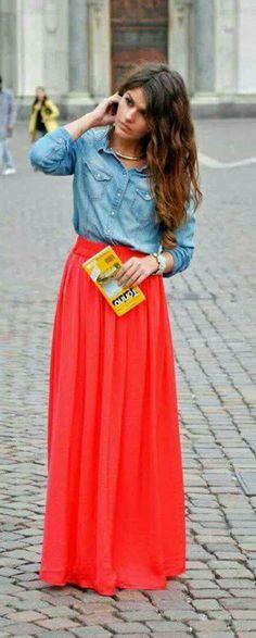 50 mejores imágenes de Outfit Falda Larga   Maxi Skirt Outfit ... 0fe0fce166cd