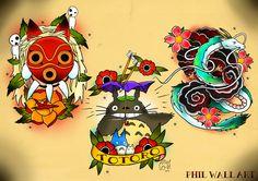 Studio Ghibli Tattoo flash. If you like mys stuff please follow, new flash sheets weekly!www.philwallart.comwww.facebook.com/dreamsandmonste...