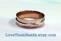 Copper & Sterling Silver Spinner Ring any size made to order, Metalwork Soldered wire, mixed metal 2 tone fidget ring, worry ring - pinned by pin4etsy.com