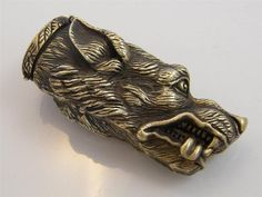 EMBOSSED & CHASED BRASS DOG HEAD VESTA CASE