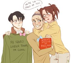 HAPPY BIRTHDAY CONNIE (ノ◕ヮ◕)ノ*:・゚✧ who needs parents to celebrate your birthday with when you have two weird superior officers taking care of you? Armin, Hanji And Levi, Cartoon N, Attack On Titan Comic, Aot Memes, Levihan, Eruri, Chica Anime Manga, Losing A Dog