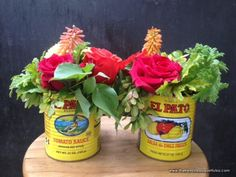 for a Cinco de Mayo-inspired party! tin cans as vases? definitely!