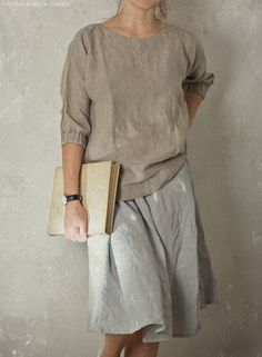 READY TO SHIP size S / linen blouse with gathered cuffs / natural linen