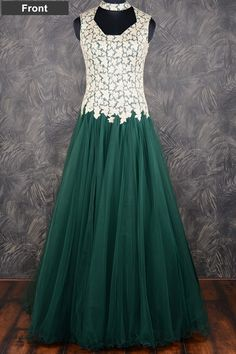 #Green classy #floor length #net gown with resham thread work-GW101