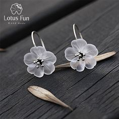 Lotus Fun Real 925 Sterling Silver Handmade Natural Designer Fine Jewelry Flower in the Rain Fashion Drop Earrings for Women ($12.90)