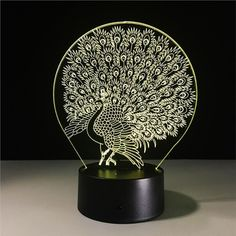 Oberora Peacock Pattern Led Acrylic Table Night light Decor Colorful 7 color Change Desk Lamp Seven Color a -- Visit the image link more details. (This is an affiliate link) Creative Lamps, Acrylic Table, Acrylic Art, Luz Led, Led Night Light, Night Lights, Color Changing Led, Light Effect, Lamp Design