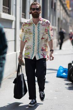 On the street at Milan Men's Fashion Week. Photo: Imaxtree.