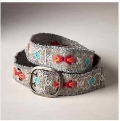 "NWT Jenny Krauss Belt Small 32"" Embroidered Mexico Peru Runes Belt Grey Wool $70"