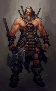 Human male barbarian, scarred face, with axe and partial light armor. Diablo III Barbarian by Phroilan Gardner