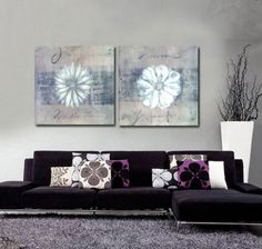 HD-Canvas-Print-home-decor-wall-art-painting-Picture-flowers-2PC-Noframed-206