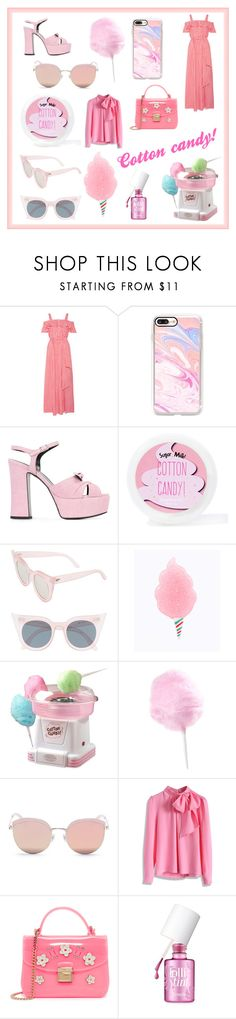 """""""Cotton candy! 💕"""" by mystyleanna ❤ liked on Polyvore featuring Draper James, Casetify, Yves Saint Laurent, Sugar Milk Co, Le Specs, Nostalgia, Stephane + Christian, Chicwish, Furla and Benefit"""