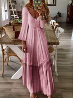 Beautythee Party Dresses Long Sleeve 1 Vintage Dresses Daytime V Neck Printed/dyed Casual Dresses – beautythee Chiffon Maxi Dress, White Maxi Dresses, Plus Size Maxi Dresses, Maxi Dress With Sleeves, Casual Dresses, Dresses Dresses, Party Dresses, Strapless Maxi, Daytime Dresses