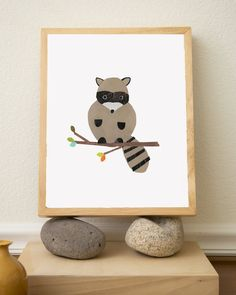 Racoon Nursery Art print  8x10 Recycled Collage by ChildrenInspire, $22.00- I shouldnt like this since these critters break into my house every year!