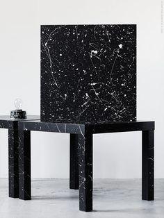 LACK sidobord i svart, förvandlas till massiv terrazzo med bara lite färg och en pensel.