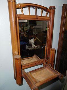 Image Gallery Website Vintage Bamboo Mirror with Folding Shelf Unique Bathroom Hall Decor