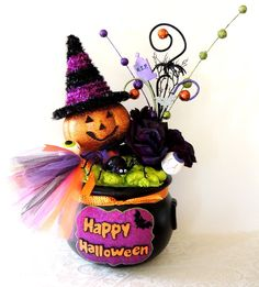 halloween centerpiece witch cauldron centerpiece happy halloween decor fall - Halloween Centerpieces