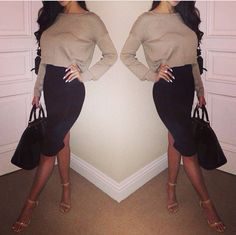 Black pencil skirt with crop sweater top trendy looks