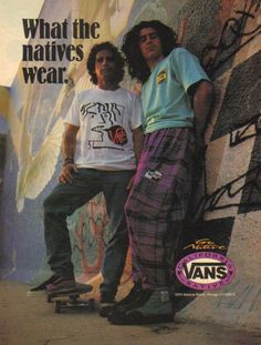 Ad for the Native American Vans from 1988 Old School Skateboards, Vintage Skateboards, Vintage Vans, Vintage Outfits, 80s Fashion, Vintage Fashion, Vans Usa, Original Skateboards, Native Wears
